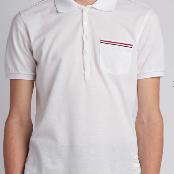 55cf1a8c Thom Browne Short Sleeve Pique Cotton Polo. M_5b78f0323e0caae5181b65d6